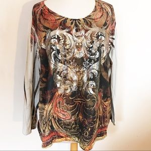 LANE BRYANT distressed tee with gold graphic 22/24